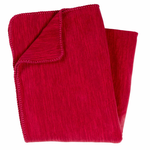 Polartec Thermal Pro Stria Fleece Throw Blanket / Color-Candy Apple