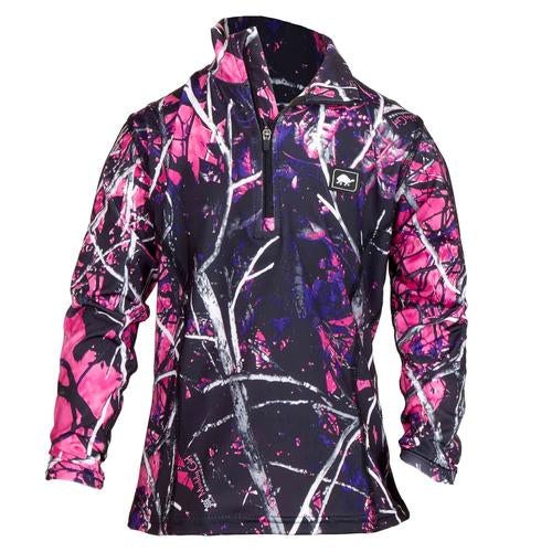 Girls Comfort Shell Kira High Energy 1/4 Zip / Color-Moonshine Camo Muddy Girl
