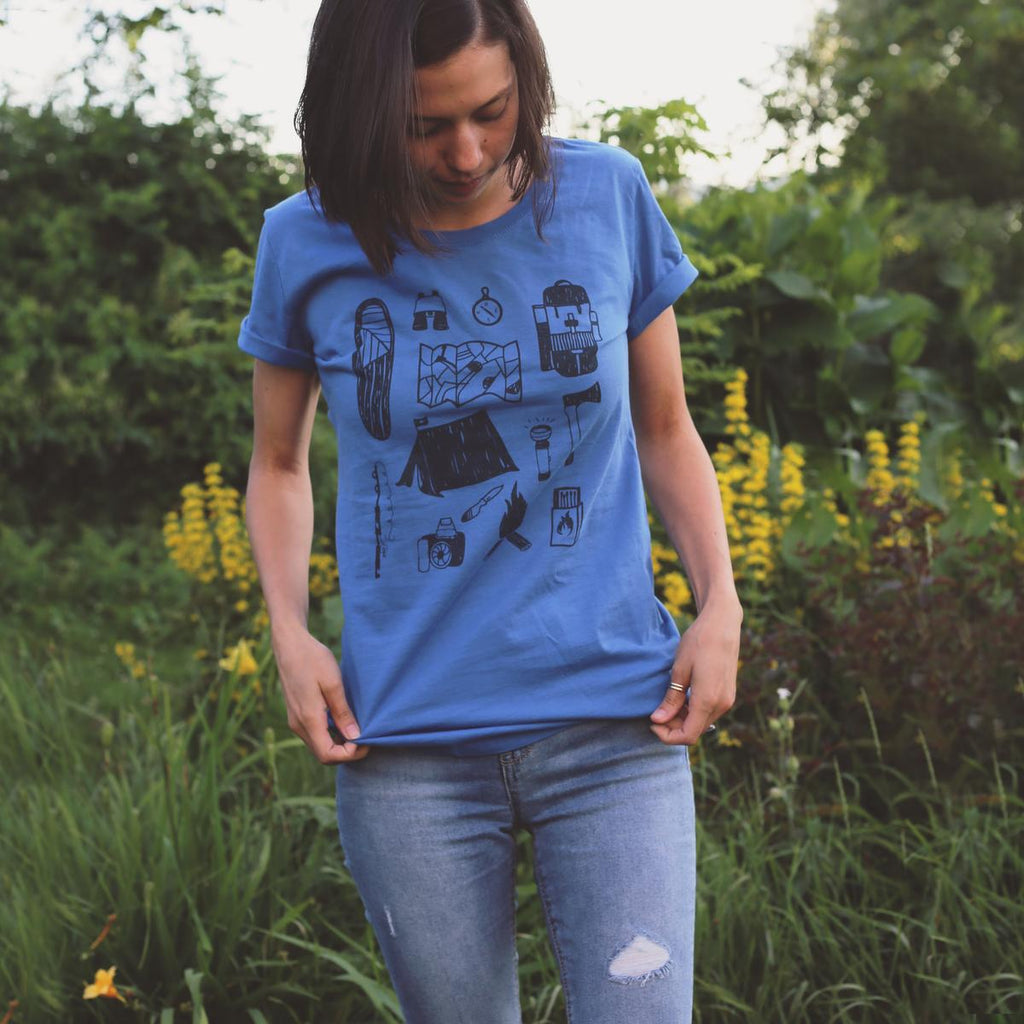 Women's Knolling Camper T-Shirt / Color - Blue Steel