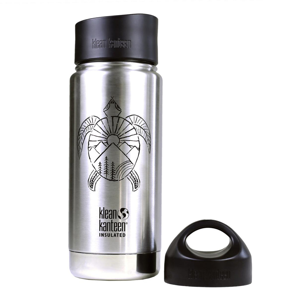 Klean Kanteen Insulated Wide 16oz Bottle / Color-Spirit Turtle Brushed Stainless