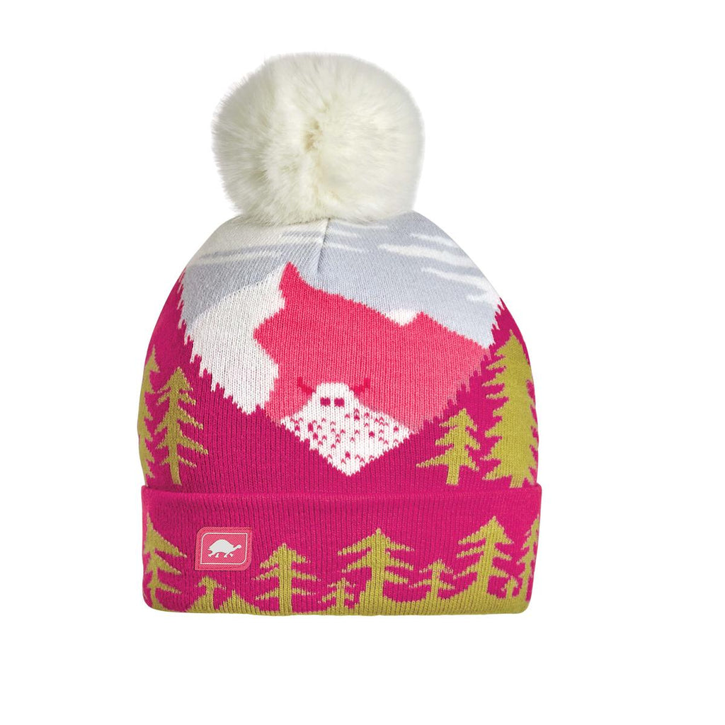 Youth Peeking Yeti Faux Fur Pom / Color-Pink
