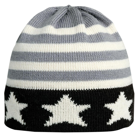 USA Monochrome Knit Beanie / Color-Carbon
