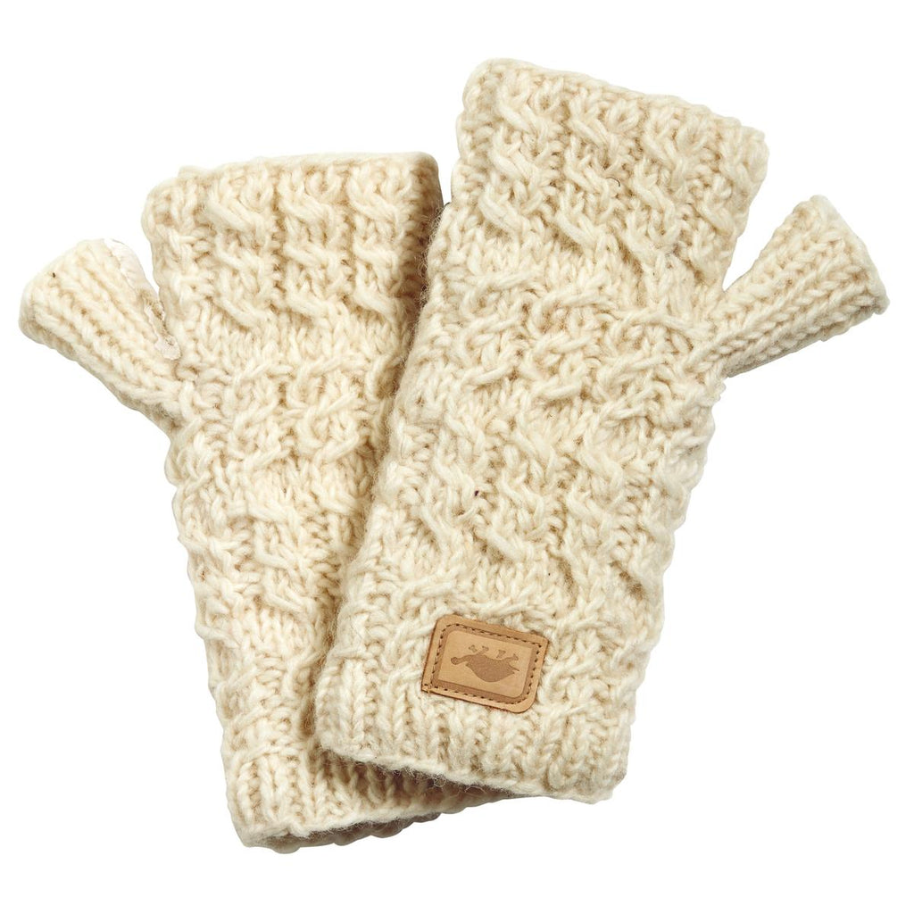Mika Wool Fingerless Mittens / Color-White