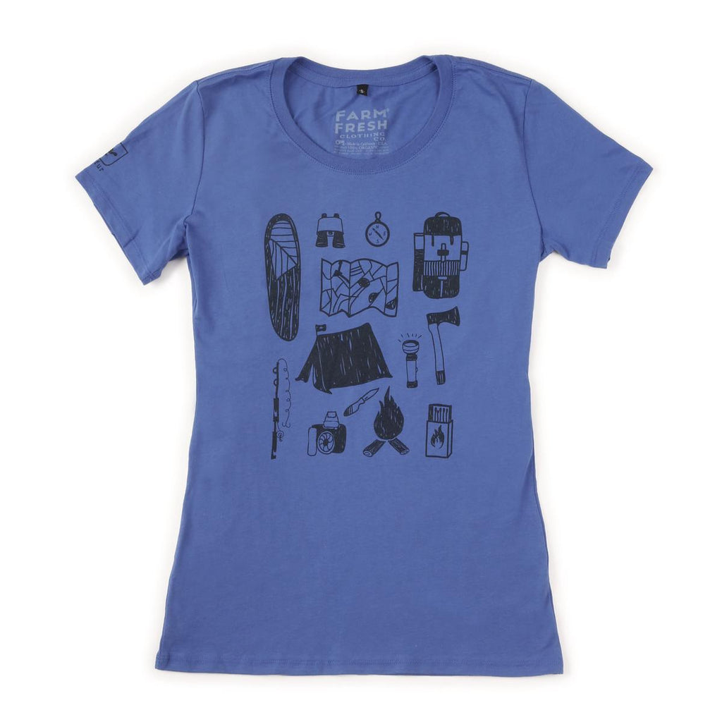 Women's Knolling Camper T-Shirt / Color-Blue Steel