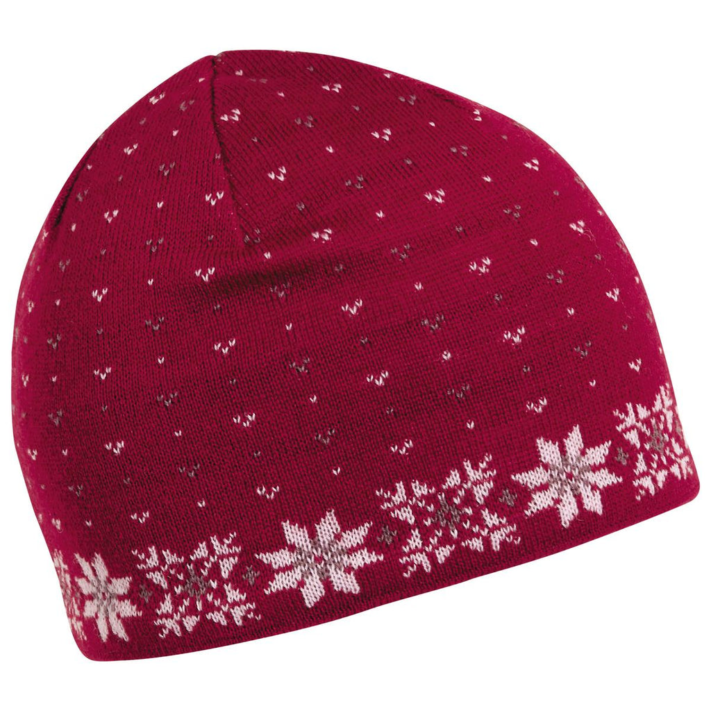 Flurry Knit Beanie / Color - Cherry