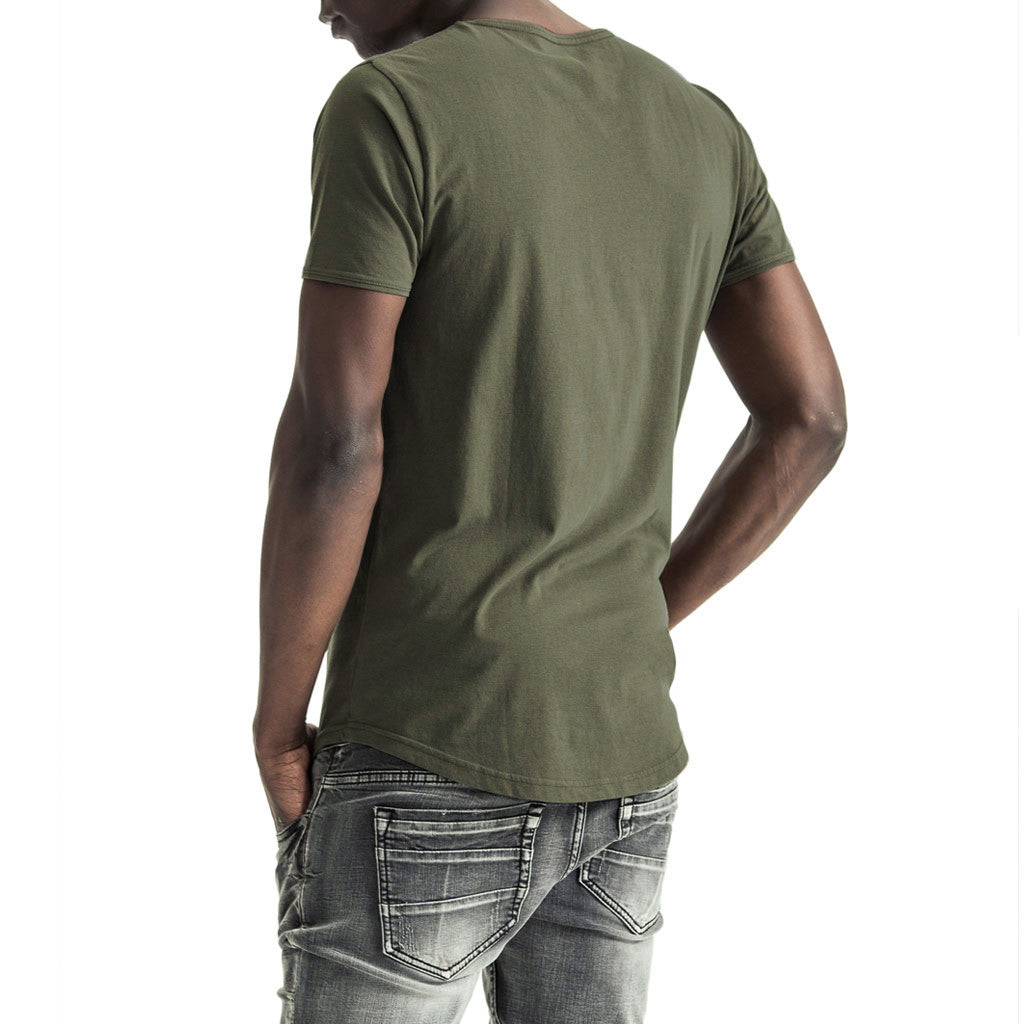 Mens-T-Shirt-Tee-Olive-Green-Cotton-Back-View