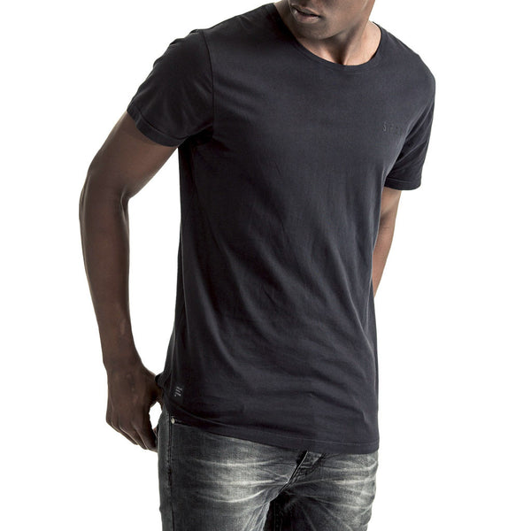 Mens-T-shirt-Tee-Black-Front-View