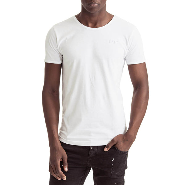 Mens-T-shirt-Tee-White-Logo-Front-View