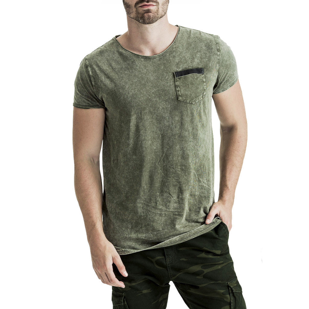 Mens-T-Shirt-Tee-Olive-Green-Cotton-Front-View