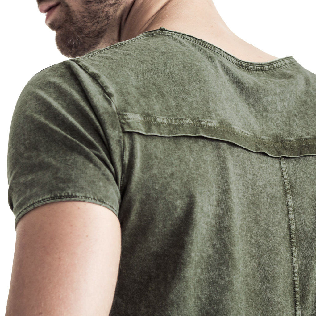 Mens-T-Shirt-Tee-Olive-Green-Cotton