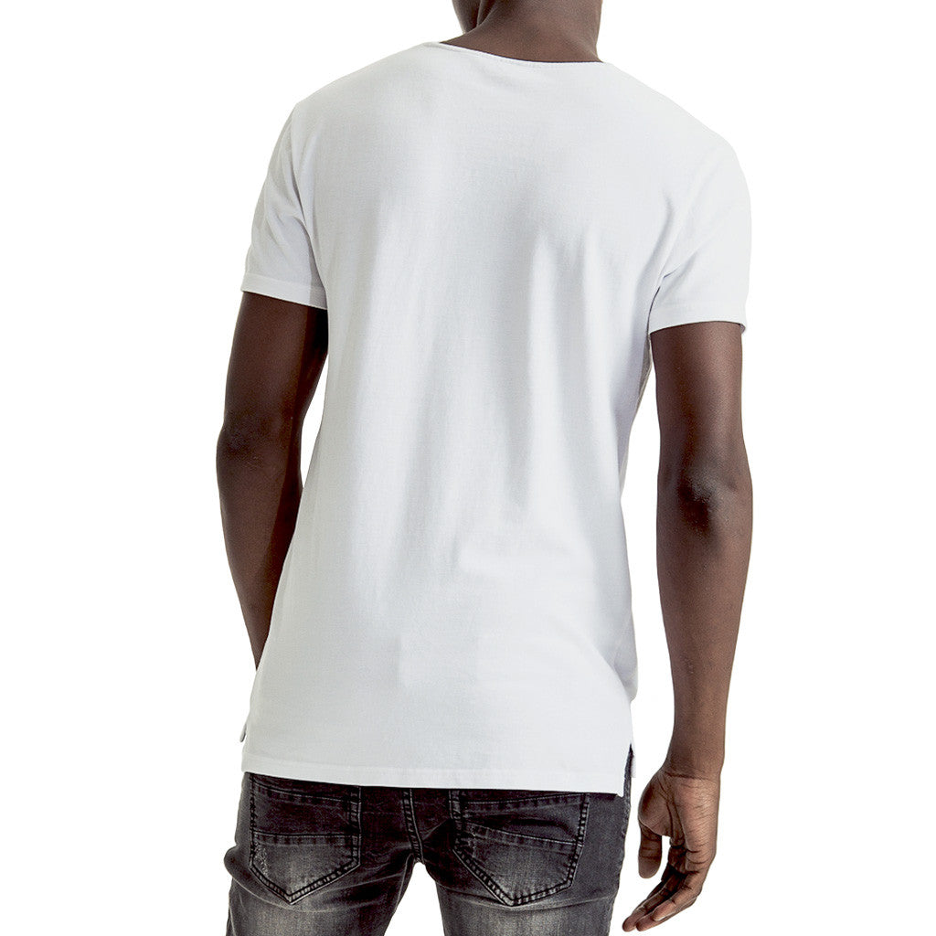 Mens-T-shirt-Tee-White-Back-View