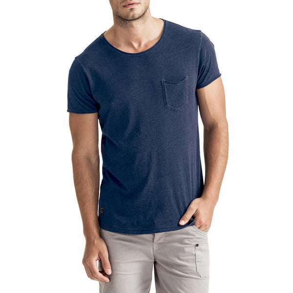 Mens-T-shirt-Tee-Blue-Chest-Pocket-Front-View