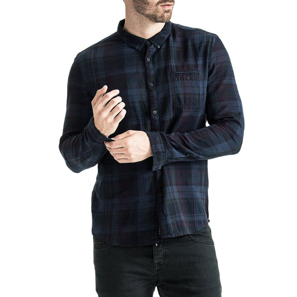 Mens-Shirt-Long-Sleeve-Check-Blue-Black-Front-View