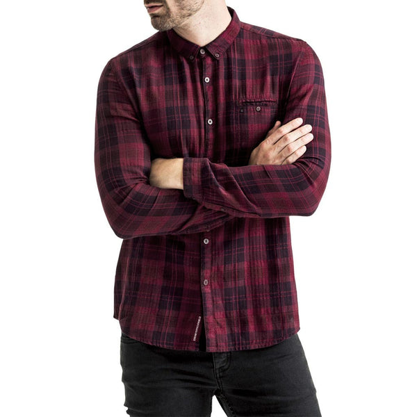 Mens-Long-Sleeve-Check-Print-Burgundy-Red-Black-Front-View