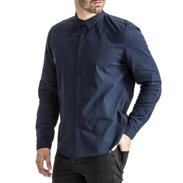 Mens-Shirt-Long-Sleeve-Indigo-Navy-Front-View