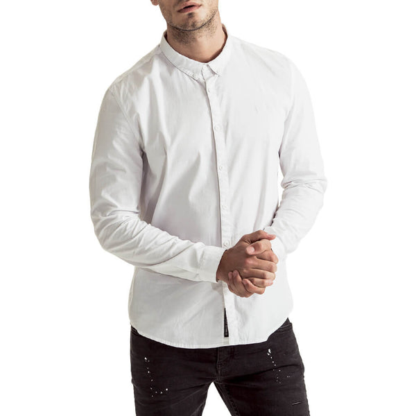 Mens-Long-Sleeve-Shirt-White-Cotton-Front-View