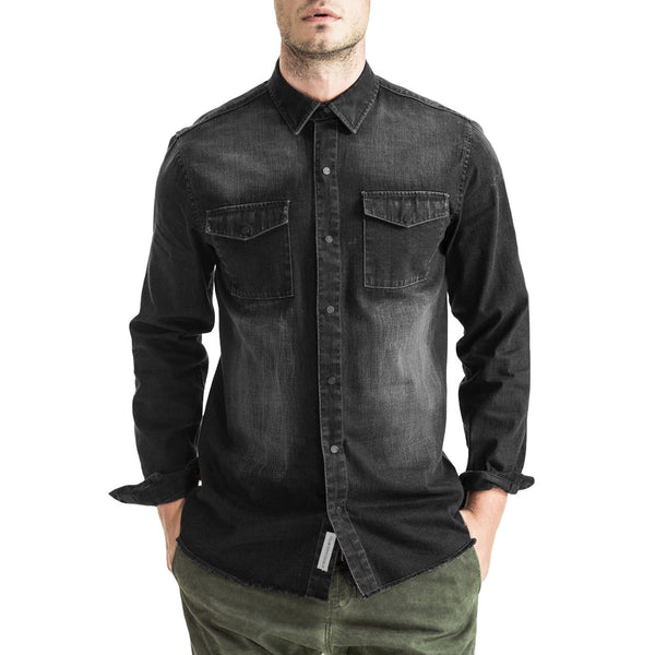 Mens-Shirt-Long-Sleeve-Denim-Black-Front-View