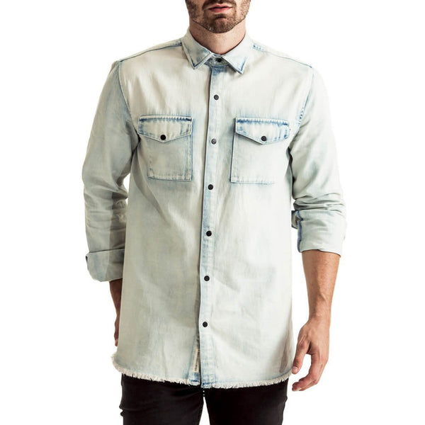 Mens-Long-Sleeve-Shirt-Bleach-wash-Light-Blue-Denim-Front-View
