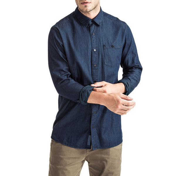 Mens-Denim-Shirt-Long-Sleeve-Front-View