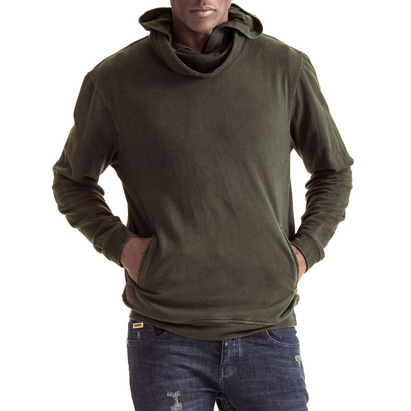 Men-Sweater-Cowl-Neck-Front-View-Olive