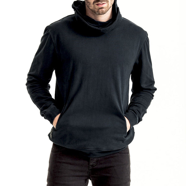 Mens-Sweater-Hoody-Navy-Front-View