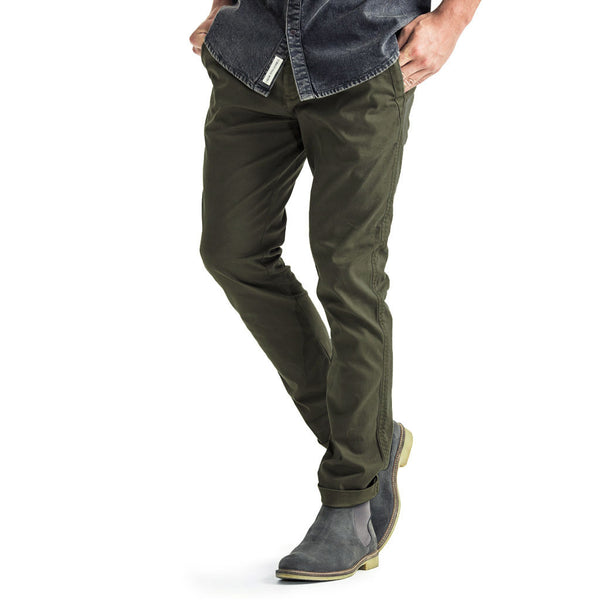 Mens-Chino-Stovepipe-Pants-Olive-Front-View