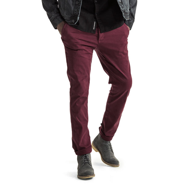 Mens-Chino-Stovepipe-Pants-Burgundy-Red-Front-View
