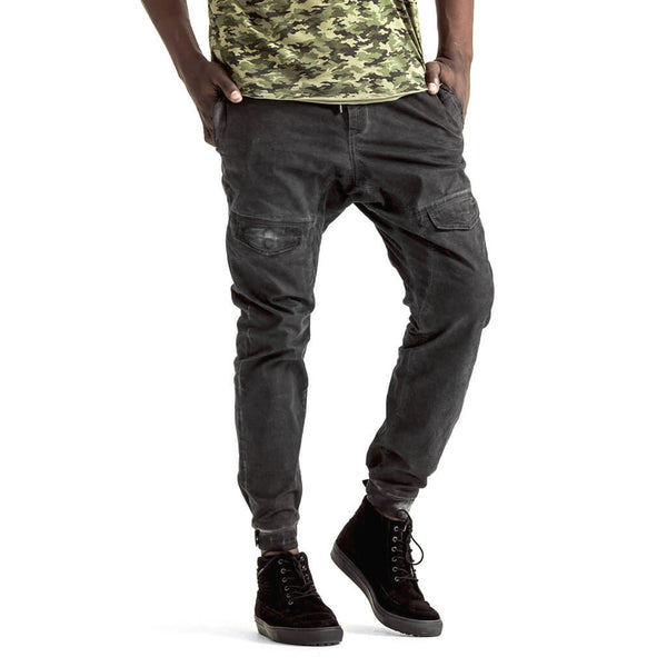 Mens-Jogger-Chino-Charcoal-Black-Front-View