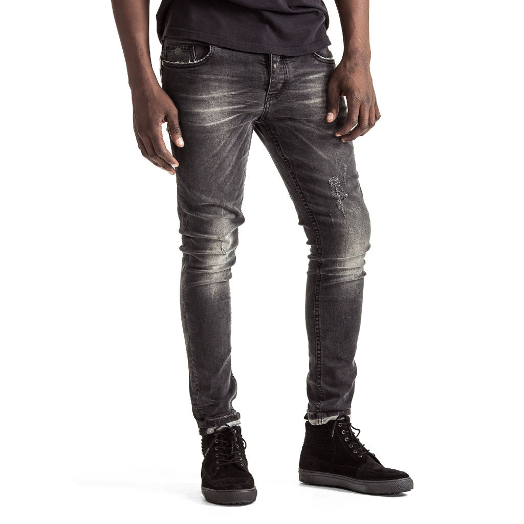 Mens-Jeans-Denim-Skinny-Black-Front-View