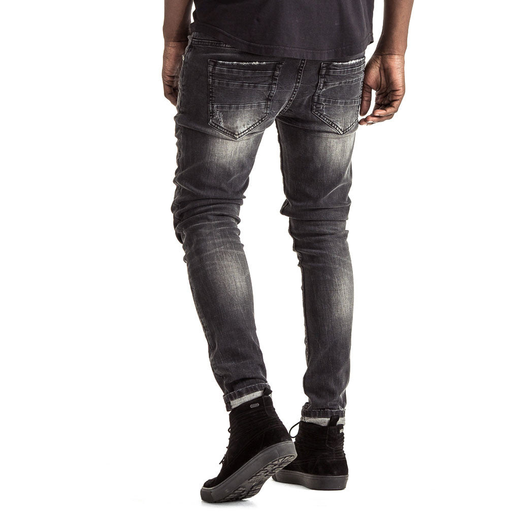 Mens-Jeans-Denim-Skinny-Black-Back-View