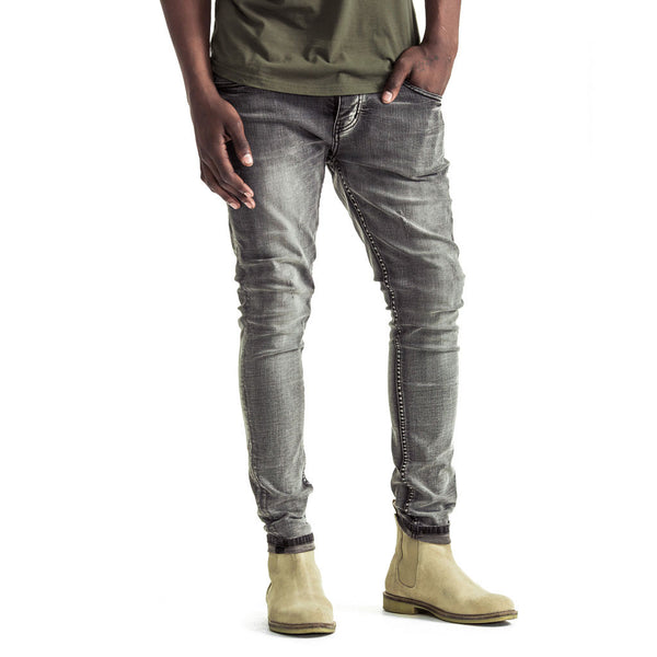 Mens-Denim-Skinny-Jeans-Light-Grey-Front-View