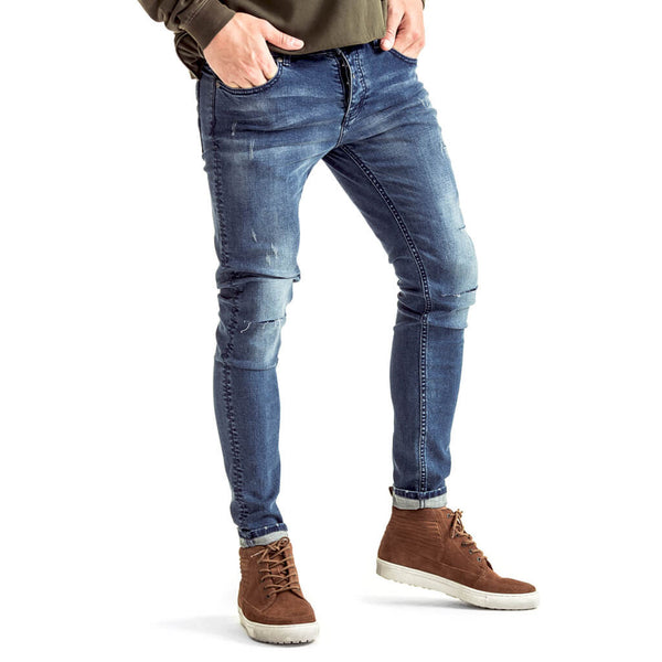 SPCC | Blue | Trench skinny jean | Rip and repair