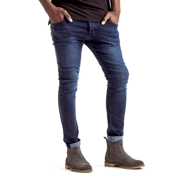 Mens-Denim-Jeans-Blue-Indigo-Feather-Slimfit-Front-View
