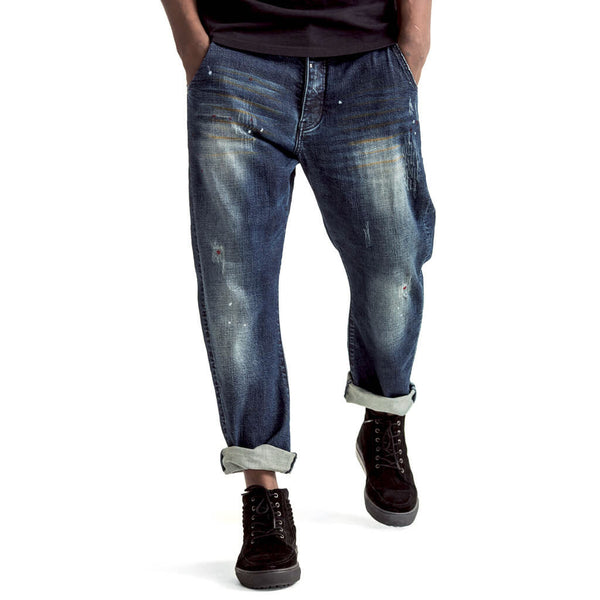 Mens-Jeans-Denim-Funnel-Blue-Bleach-Front-View