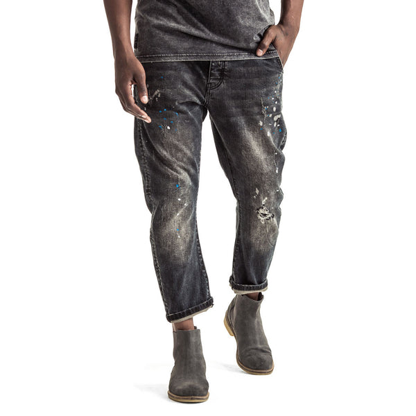 SPCC | Funnel Jeans | Drop crotched | Black | Paint splatter