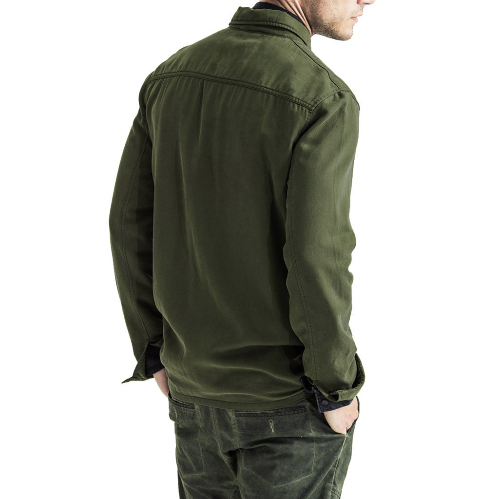 Mens-Shacket-Shirt-Jacket-Olive-Back-View