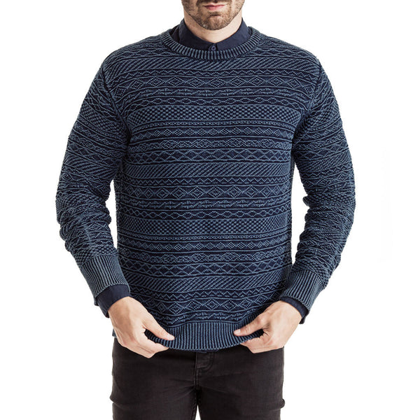Mens-Jersey-Knit-Long-Sleeve-Navy-Front-View
