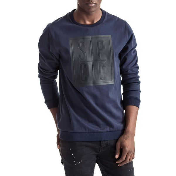 Mens-Sweater-Navy-Blue-Fleece-Front-View