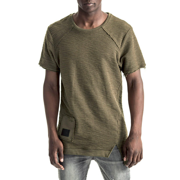 Mens-T-shirt-Tee-Olive-Green-Slubbed-Fleece-Front-View