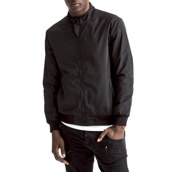 Mens-Jacket-Zip-Thru-Black-Front-View