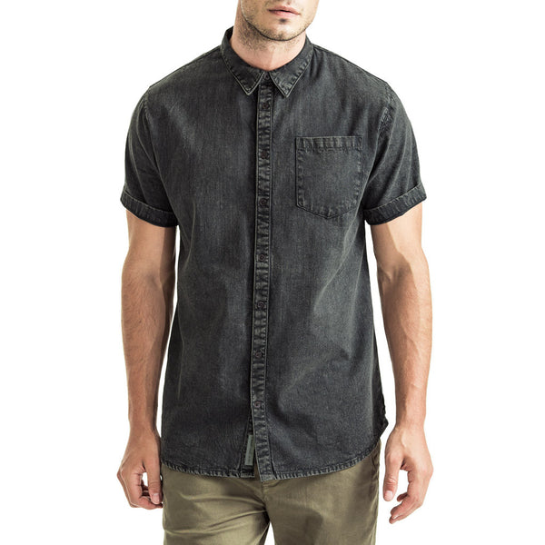 Mens-Denim-Shirt-Short-Sleeve-Black-Front-View
