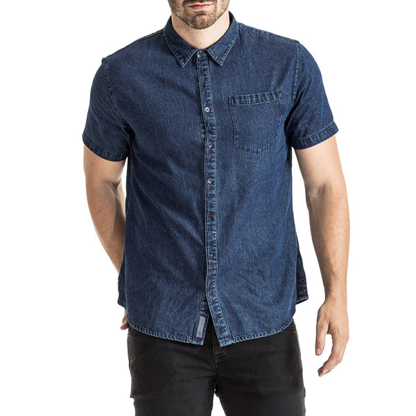 Mens-Shirt-Denim-Short-Sleeve-Blue-Front-View