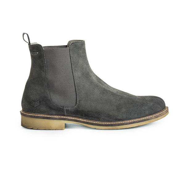 Mens-Chelsea-Boot-Suede-Grey-Front-View