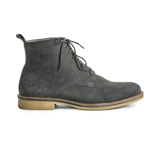 Mens-Boot-Suede-Grey-Lace-up-Front-View