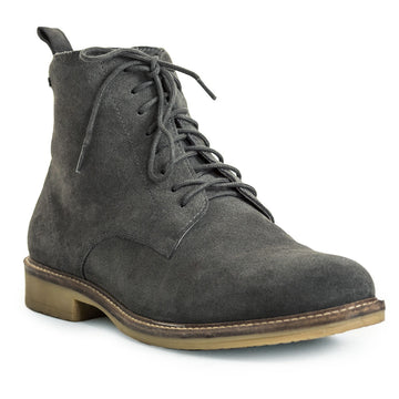 Mens-Boot-Suede-Grey-Lace-up