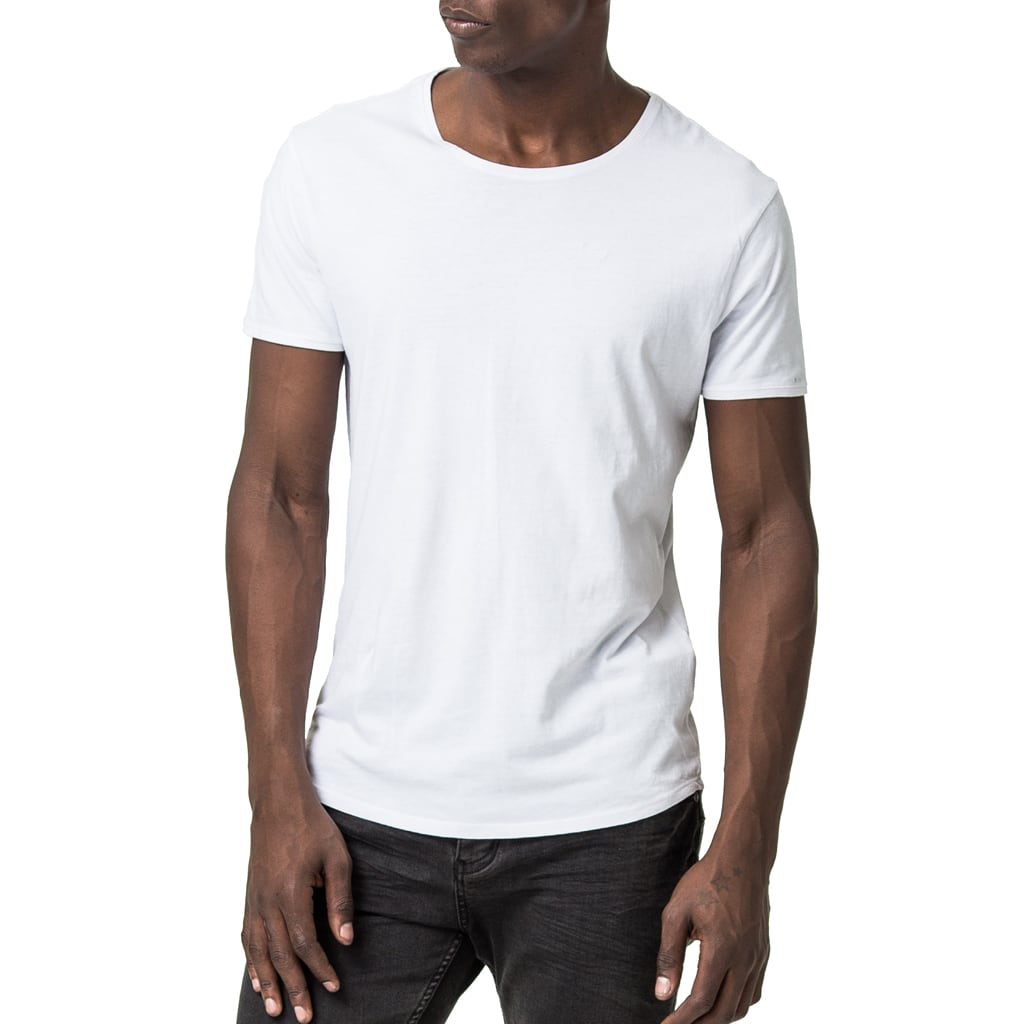 Mens-100%-Cotton-Tee-T-shirt-White-Chest-Embroidery-Front-View