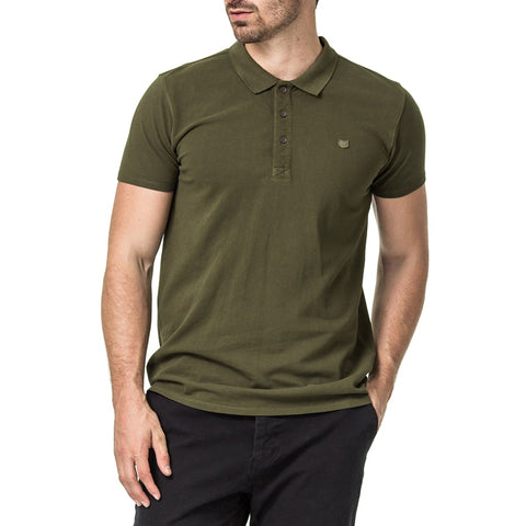 Mens-Olive-Pique-Rib-Collar-Golfer-Front-View