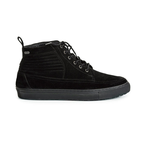 Mens-Sneaker-Lace-up-Suede-Black-Front-View