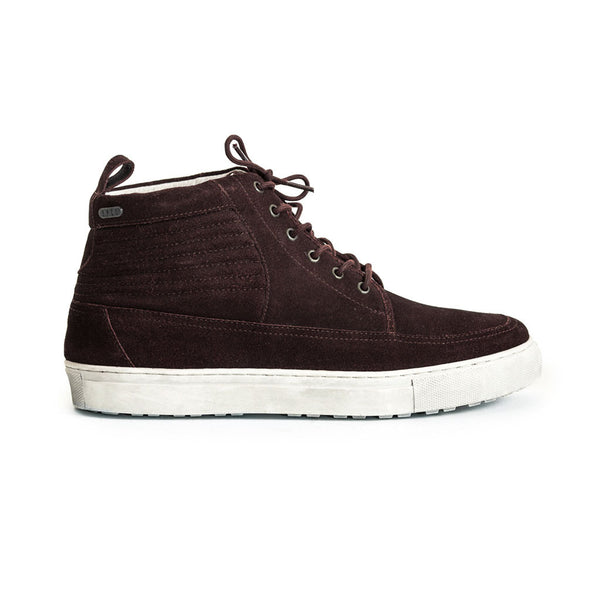 Mens-Sneaker-Lace-up-Suede-Burgundy-Red-Front-View