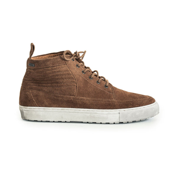 Mens-Sneaker-Lace-up-Suede-Brown-Front-View
